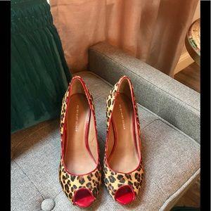 Kurt Geiger panther print red heeled peep toes 9